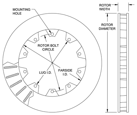 Ultralite 30 Vane Rotor Dimension Diagram