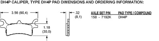 Pad Dimensions for the DH4 Dual Hydraulic