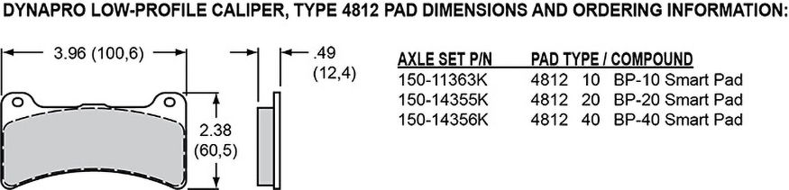 Pad Dimensions for the Forged Dynapro Lug Mount Low-Profile