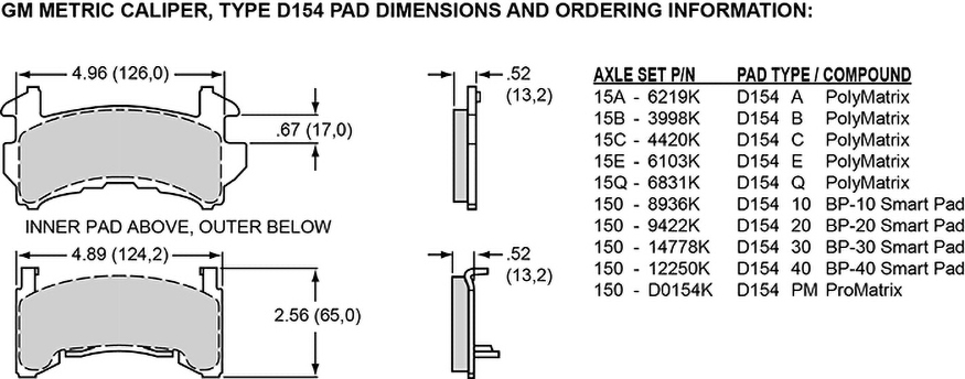 Pad Dimensions for the D154 Single & Dual Piston Floater