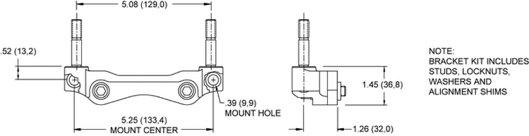 Mount Dimensions for the Powerlite 2R Radial Mount