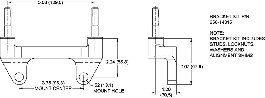 Mount Dimensions for the Powerlite Radial Mount