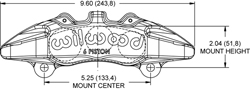 Forged Dynapro 6A Lug Mount Caliper Drawing