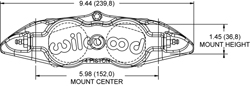 Forged Narrow Superlite 4 Dust Seal Radial Mount Caliper Drawing