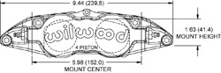Forged Superlite 4 Radial Mount Caliper Drawing