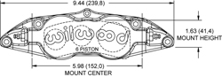 Forged Superlite 6 Radial Mount Caliper Drawing