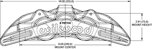 SX6R Radial Mount Caliper Drawing